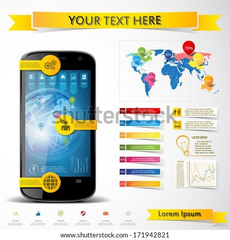 Modern smartphone with infographics elements. Vector illustration. - stock vector