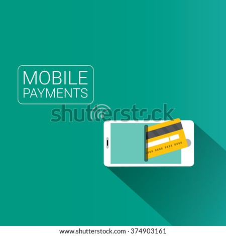 modern smartphone with processing of mobile payments from credit card on the screen. Internet banking concept. wireless money transfer. - stock vector
