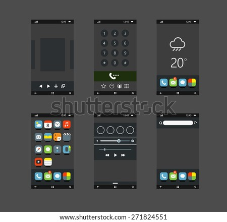 Modern smartphones with different application screens - stock vector