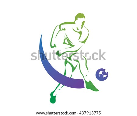 Modern Soccer Player In Action Logo - Fast Penalty Kick Jump