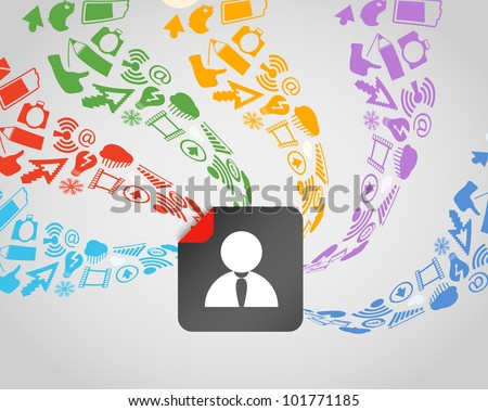 Modern social media content flows to avatar - stock vector