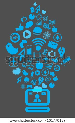 Modern social media content going down to the computer - stock vector