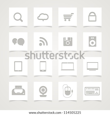 Modern Social media icons on paper buttons - stock vector