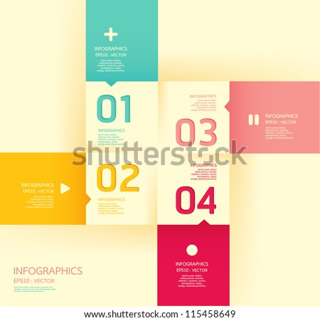 Modern   soft color Design template  / can be used for infographics / numbered banners / horizontal cutout lines / graphic or website layout vector/Horizontal - stock vector