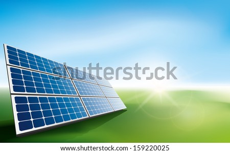 Modern solar panels in a field of grass with sun light. - stock vector