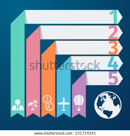 Modern spiral infographics options banner in flat design style. Can be used for workflow layout diagram number options web design. Travel infographic template pie chart with item icons - stock vector