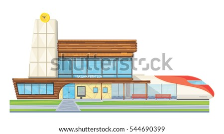 Modern steel glass railway station building front view flat image with speed intercity train vector illustration