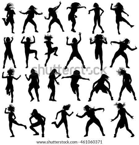 Modern style dancers vector silhouette illustration isolated on white background. Woman ballet performer. Sexy hip hop lady. Gangsta rap. Big set of dancers. accompanying dance group.