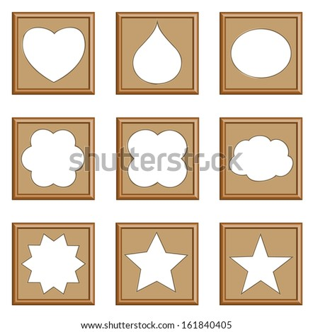 modern style frames of star, heart, drop, oval, cloud for gallery collection, vector set