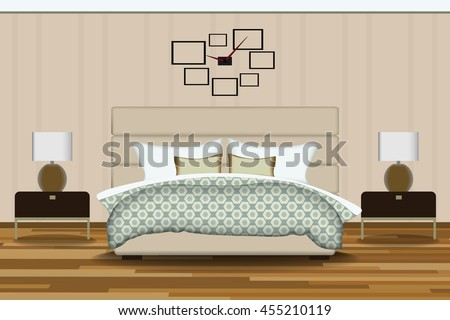 modern style interior design vector illustrationbed with wallpaper wallside tableschandeliers bed furniture image