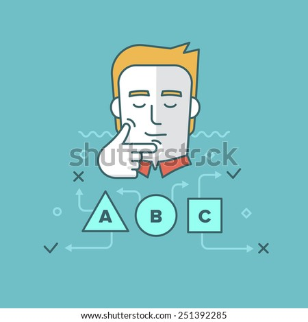 Modern style linear illustration of a man solving a problem, finding solution, thinking, making decision. Business and productivity concept - stock vector