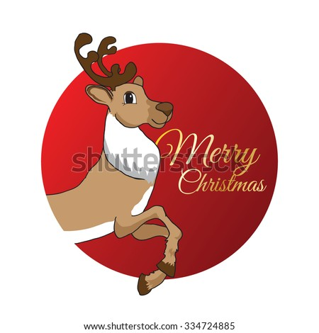 Modern style New Year and Christmas card. Santa deer in the red flat circle. Golden letters on background. Cartoon character.