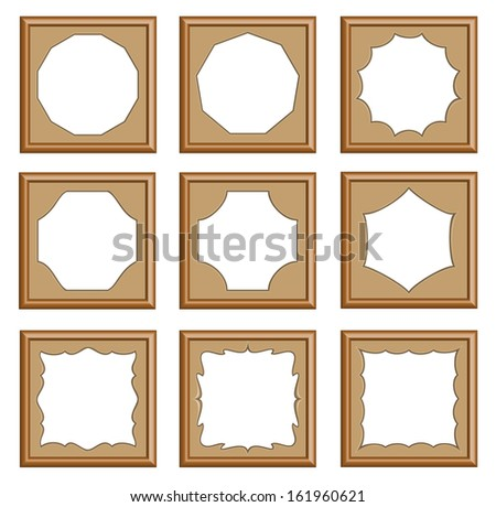 modern style of wood carved frames for picture, image, gallery, collection photo, 3d vector set - stock vector