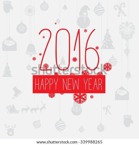 Modern style red gray  color scheme new year greetings card on light-gray background with gray elements and red snowflakes. Flat design element. Bright mood.  2016 new year greetings - stock vector