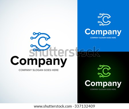 Modern stylish logo with letter C. Business Technology vector logotype design template. Creative concept icon. Corporate company identity. - stock vector