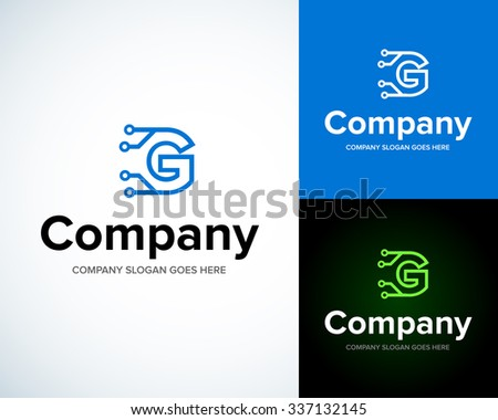 Modern stylish logo with letter G. Business Technology vector logotype design template. Creative concept icon. Corporate company identity. - stock vector