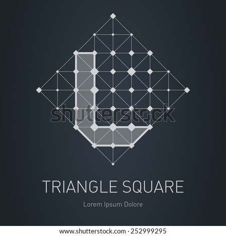 Modern stylish low poly logo with letter L. Low-poly Design element with squares, triangles and rhombus. Vector Lowpoly logotype template. - stock vector