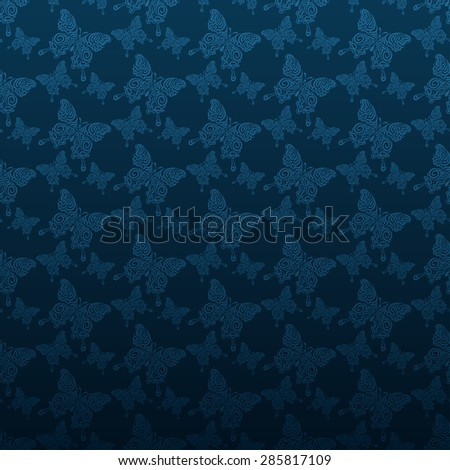 Modern stylish texture butterfly wallpaper pattern background in retro style for your design vector illustration - stock vector