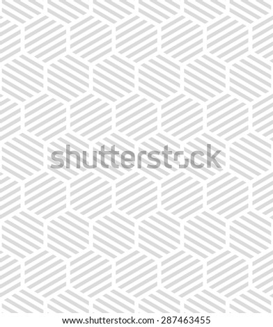 Modern stylish texture by stripes, hexagons, . Vector seamless pattern. Repeating geometric tiles. White and gray texture. - stock vector