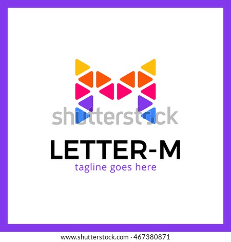 Modern stylish triangle poly logo letter M. colorful