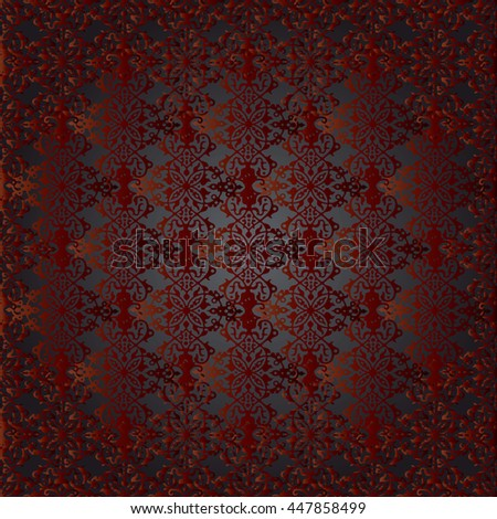 Modern stylish vector  baroque red black seamless pattern in victorian style.Elegant luxury rich texture for wallpapers, backgrounds and page fill. 3D elements with shadows and highlights. Paper cut - stock vector