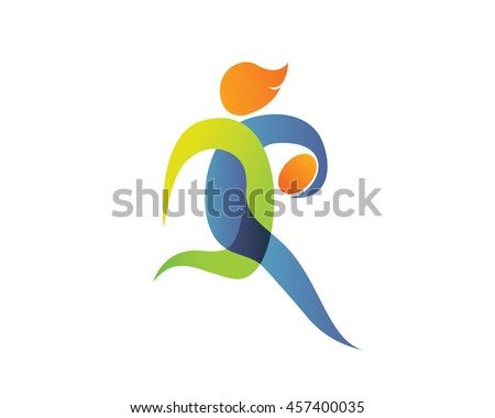 Modern Summer Sports Logo Symbol - Rugby Silhouette