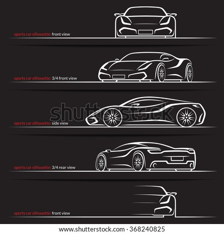 Modern super car, sports car vector silhouettes, outlines, contours isolated on black background. Front, rear and side views. - stock vector