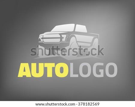 Modern suv car logo template. Offroad  pickup design elements, 4x4 vehicle illustration. - stock vector