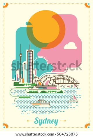 Modern Sydney illustration in color. Vector illustration.