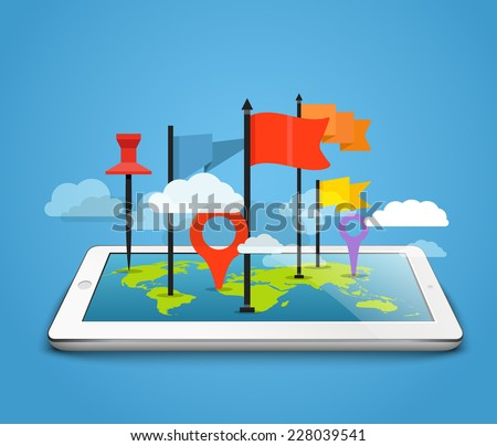 Modern tablet computer with the Earth map and pins - stock vector
