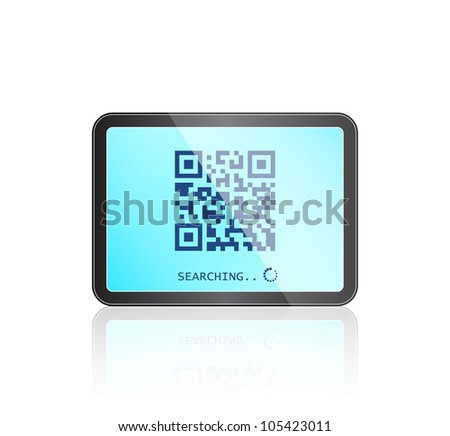 Modern Tablet Gadget with QR code on Touch Screen. Vector IT Illustration - stock vector