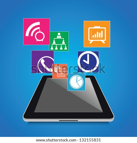 Modern tablet with business icons and symbols - stock vector