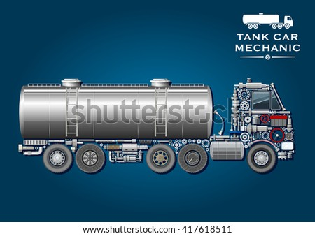 Modern tank truck composed of wheels, crankshaft, axles, transmission and suspension systems, ball bearings, fuel tank, battery, steering wheel, pressure hoses, windows, gears and headlight - stock vector