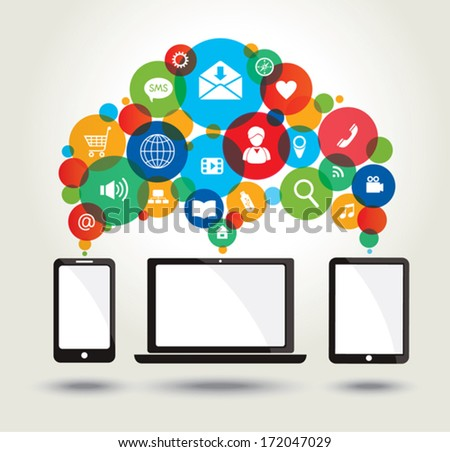 Modern technology and media icons. Concept background.  - stock vector