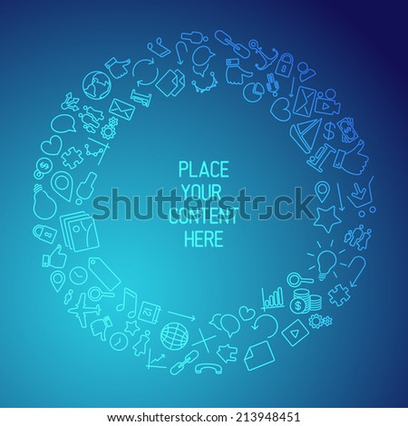 Modern technology background made from icons and pictograms - stock vector