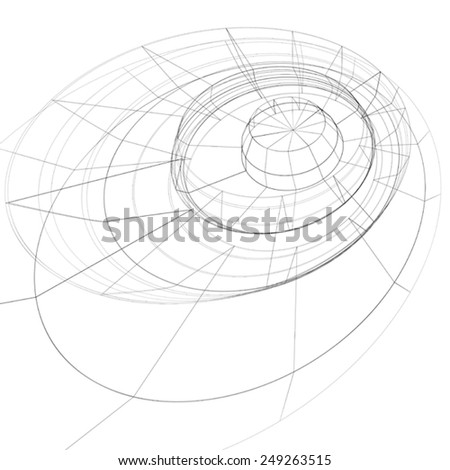 Modern technology black and white stylish background, abstract dimensional figure with lines mesh. 3d graphic complicated engineering backdrop. - stock vector