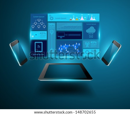 Modern technology business concept mobile phones with tablet computer, Creative design network information process diagram, Vector illustration modern template design - stock vector