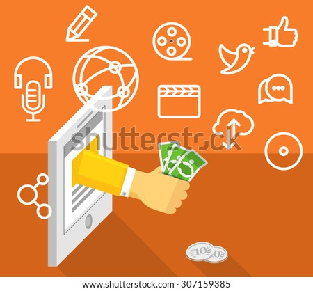 Modern technology business. Social media concept - stock vector