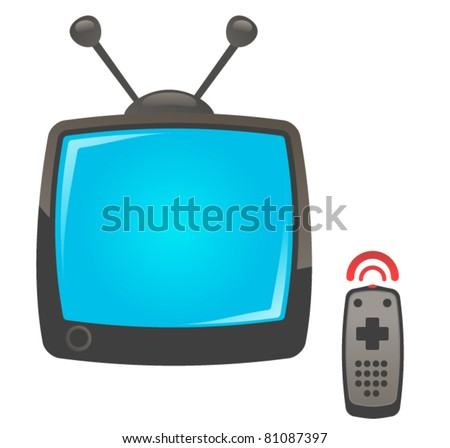 Modern Television w/ Remote Controller - stock vector