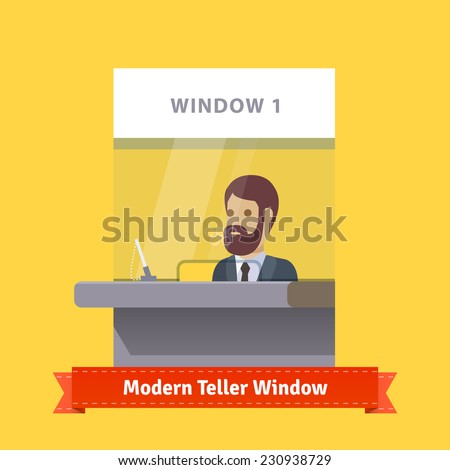 Modern teller window with a working bearded cashier. Flat illustration. EPS 10 vector. - stock vector
