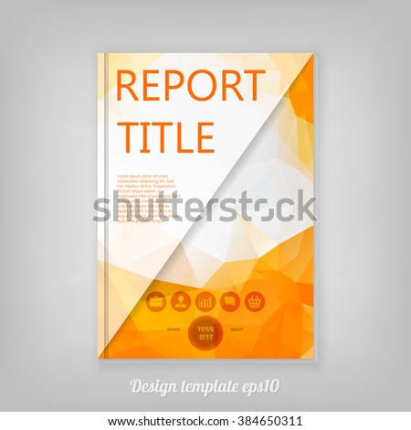 Modern Template for Business Brochure with orange low poly design vector background. - stock vector