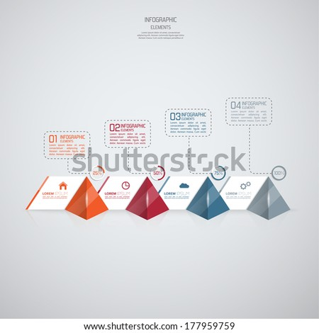Modern template with glossy pyramids and strips of paper of infographics. for to display data and  ranking and statistics or the general classification of objects, web, reports, business presentations - stock vector