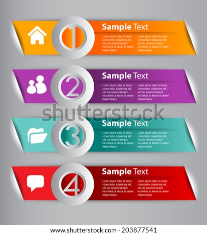 modern text box for website and business, numbers, icon. - stock vector