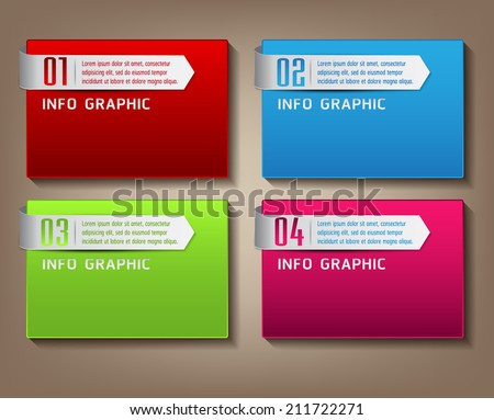 modern text box template for website and graphic, numbers, icon.  - stock vector
