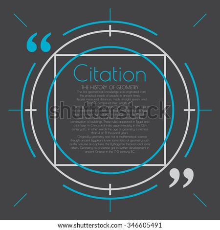Modern text bubble. Text, link, comment. Design element with a text bubble. Information design for web and print. A text document in a modern frame. Linear style background. The text in quotes. - stock vector