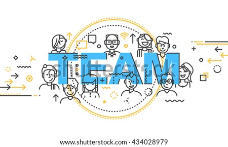 Modern Thin Contour Line Design Concept Banner of word Team. Set of application development,  web and mobile application technologies. Flat design isolated on white background. Vector