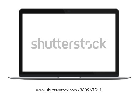 Modern thin laptop, notebook or ultrabook isolated. Vector illustration.