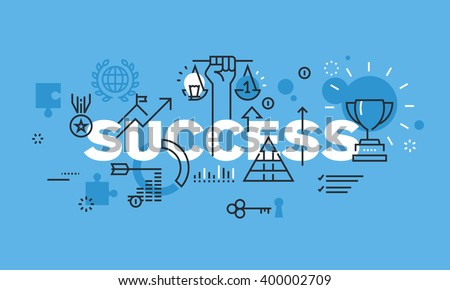 Modern thin line design concept for SUCCESS website banner. Vector illustration for business success, sports achievements, successes in science and various competitions, financial results, consulting. - stock vector