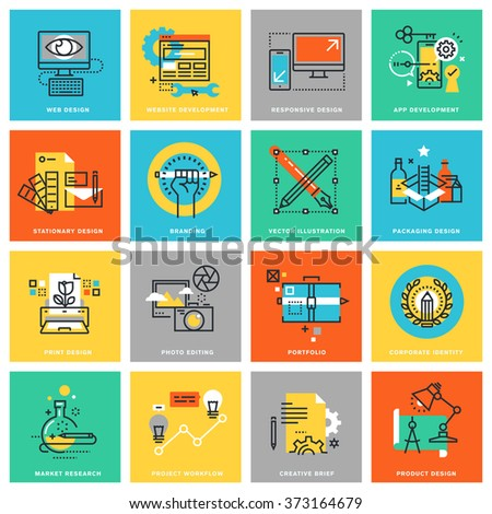 Modern thin line flat design icons for corporate identity, graphic design process, market research, web design and app development. Icons for web and app design, easy to use and highly customizable. - stock vector