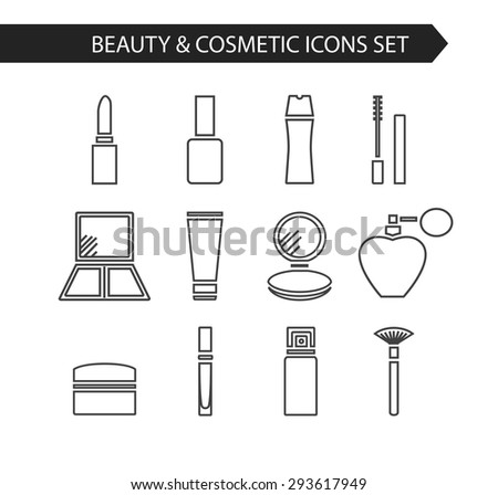 Modern thin line flat vector cosmetics icons and makeup design elements set for website isolated on white background. Face powder, lipstick, mascara, deodorant, perfume, nail polish, eye shadow.